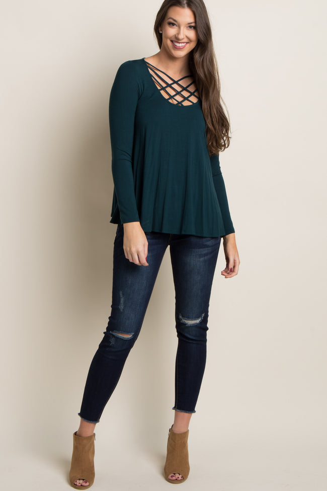 Forest Green Caged Crisscross Top