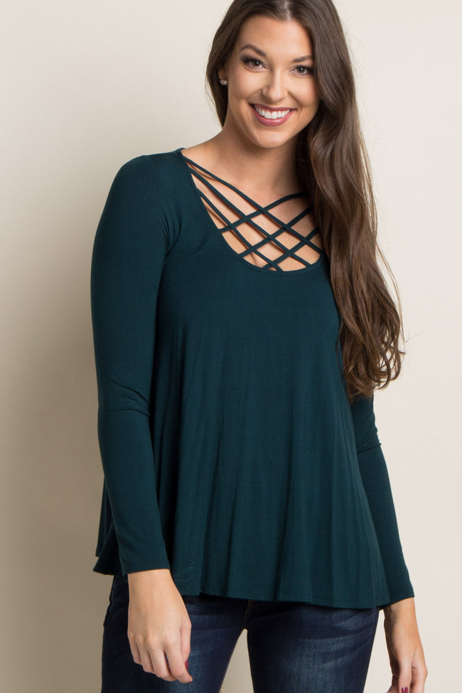 Forest Green Caged Crisscross Maternity Top