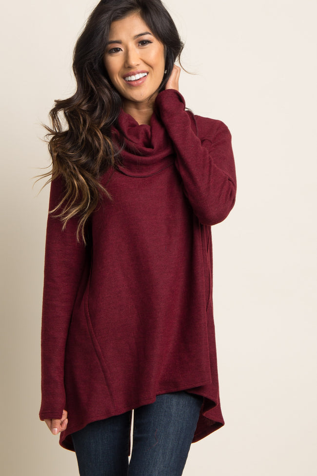 Burgundy Cowl Neck Open Back Top