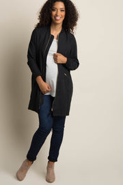 Black Solid Long Maternity Bomber Jacket