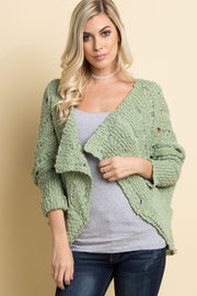 Green Chunky Open Knit Cardigan