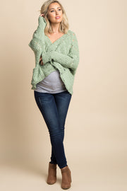 Green Chunky Open Knit Maternity Cardigan