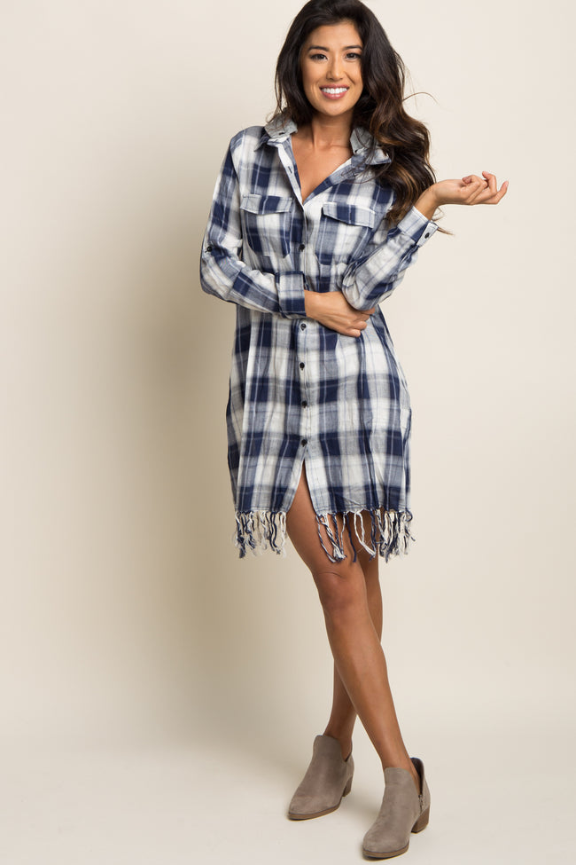 Navy Plaid Hooded Fringe Dress