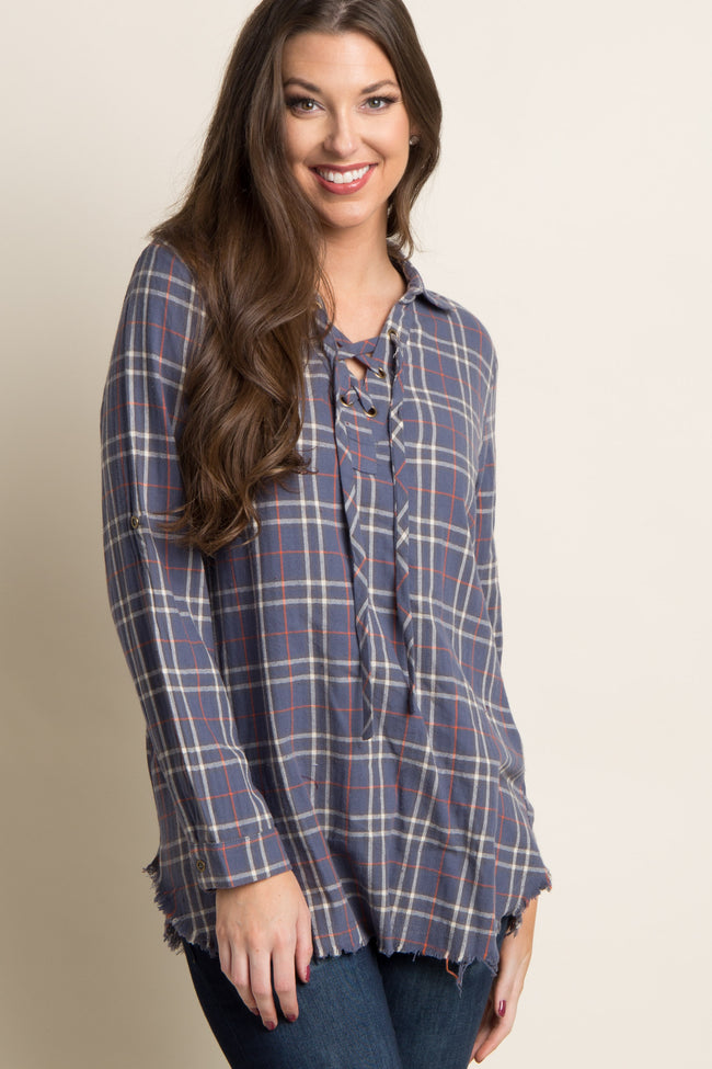 Blue Plaid Lace-Up Frayed Maternity Top