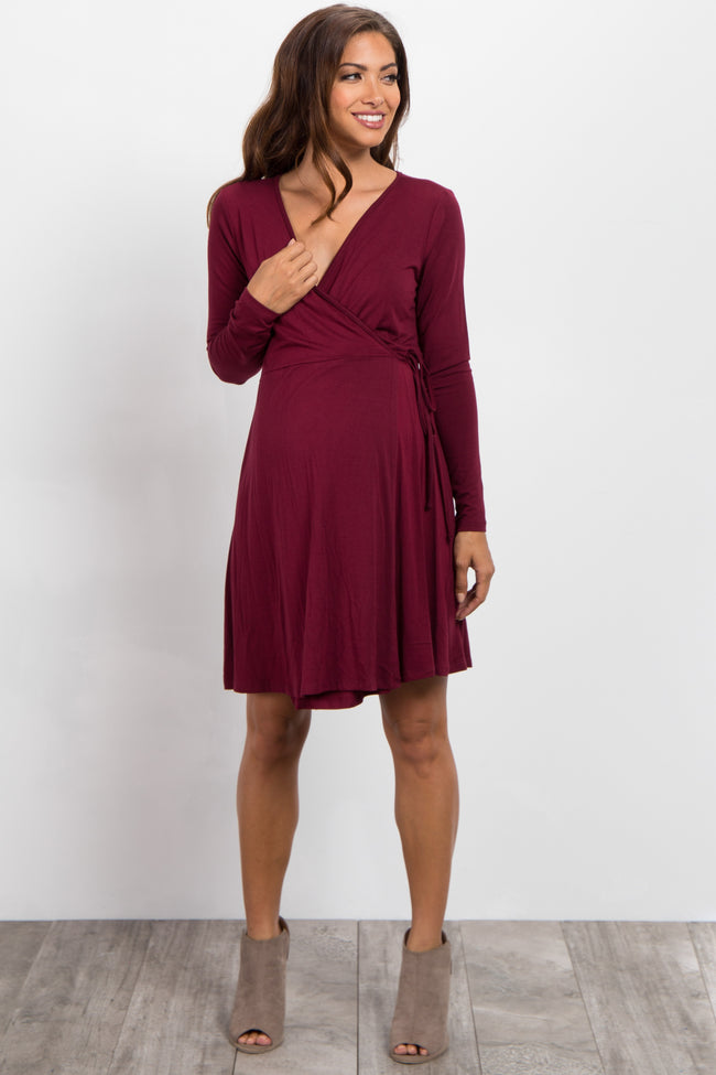 Burgundy Solid Long Sleeve Wrap Tie Maternity Dress