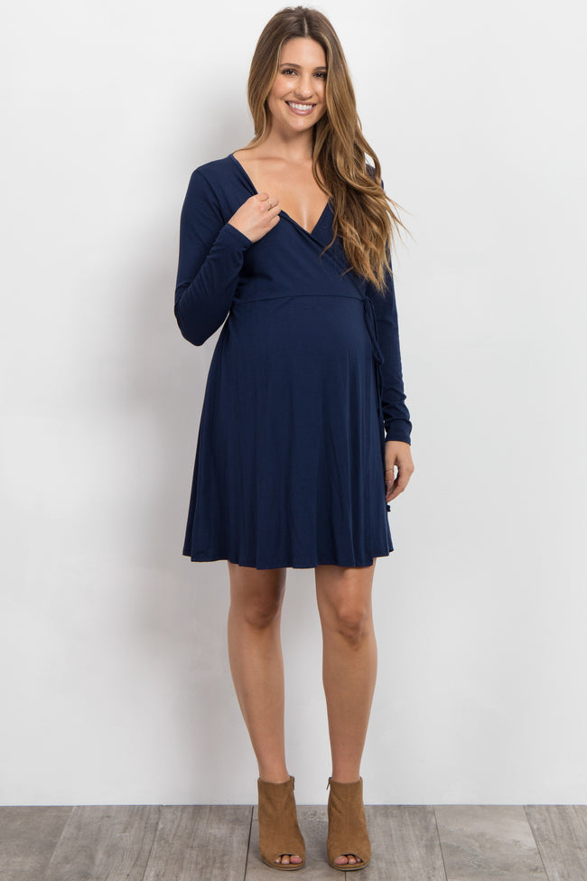 Navy Blue Solid Long Sleeve Wrap Tie Maternity Dress