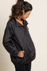 Black Hooded Pullover Jacket