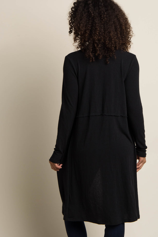 Black Solid Long Maternity Cardigan