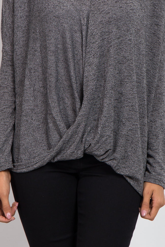 Charcoal Grey Solid Knit Draped Front Top