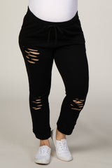 PinkBlush Black Distressed High Waist Plus Maternity Joggers