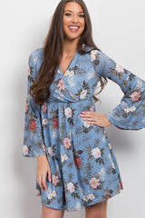 Blue Tropical Floral Bell Sleeve Wrap Dress