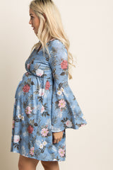 Blue Tropical Floral Bell Sleeve Maternity Wrap Dress