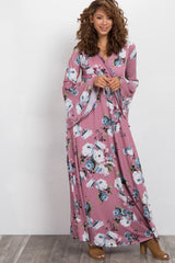 Mauve Rose Bell Sleeve Wrap Maxi Dress
