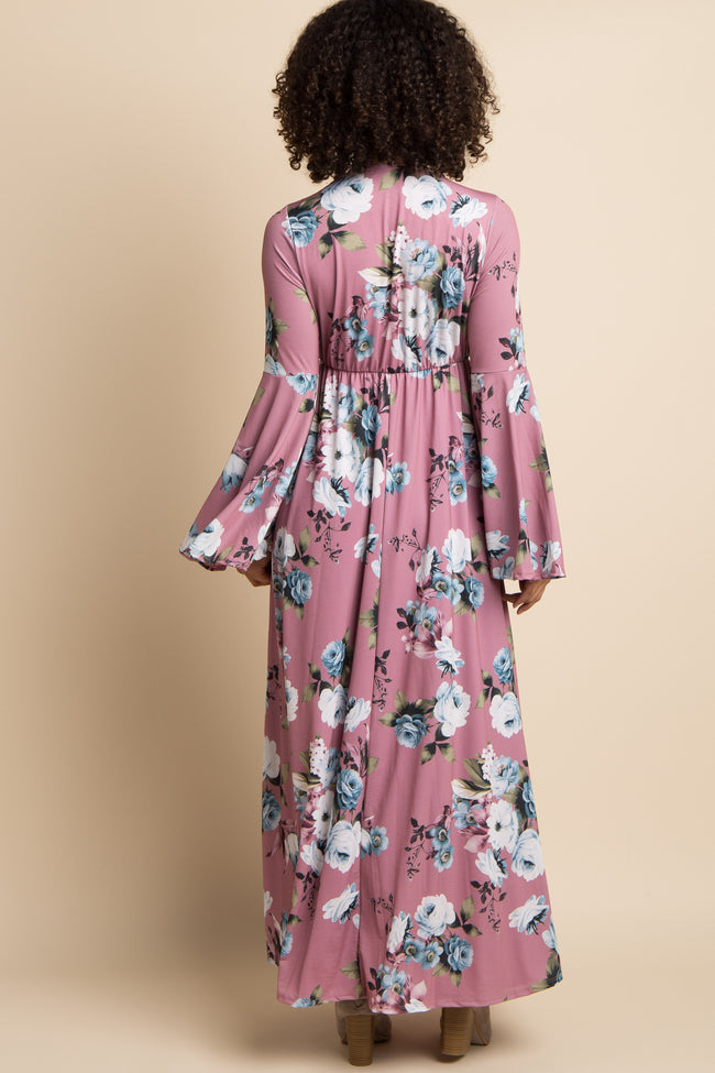 Mauve Rose Bell Sleeve Maternity/Nursing Wrap Maxi Dress