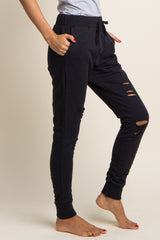 Black Drawstring Distressed Sweatpants