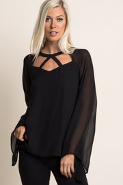 Black Cutout Front Chiffon Top