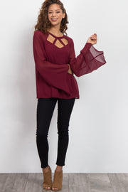 Burgundy Cutout Front Chiffon Top