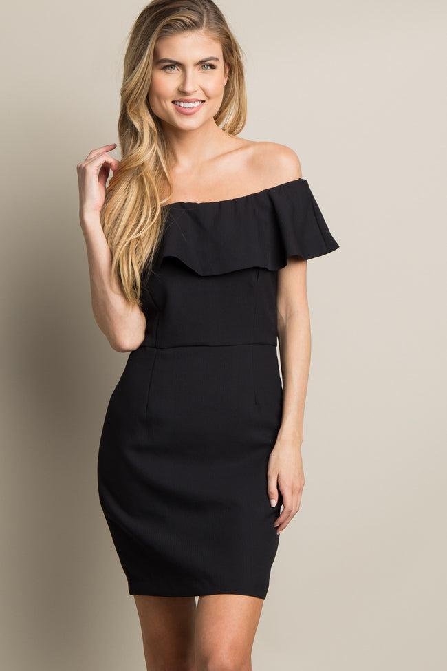 Black Solid Off Shoulder Ruffle Trim Dress