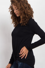 Black Long Sleeve Knot Top