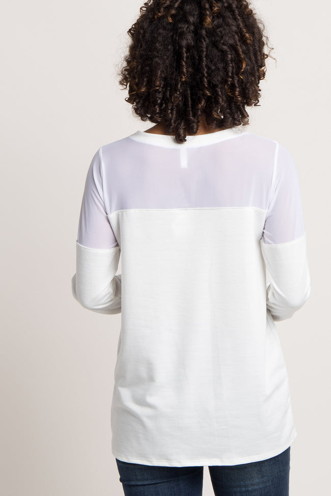 White Solid Mesh Panel Long Sleeve Maternity Top