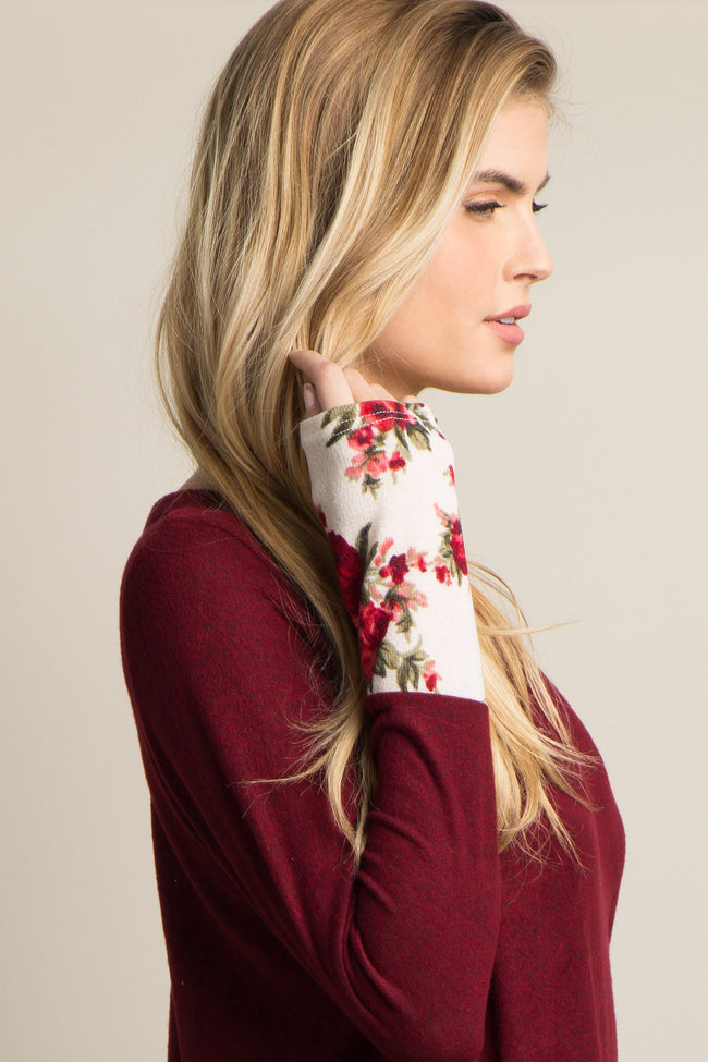 Burgundy Heathered Floral Accent Top