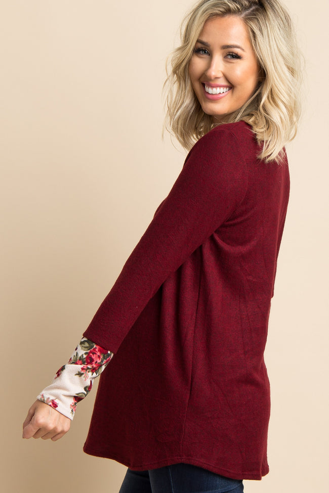 Burgundy Heathered Floral Accent Maternity Top