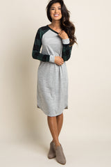 Forest Green Plaid Colorblock Maternity Dress