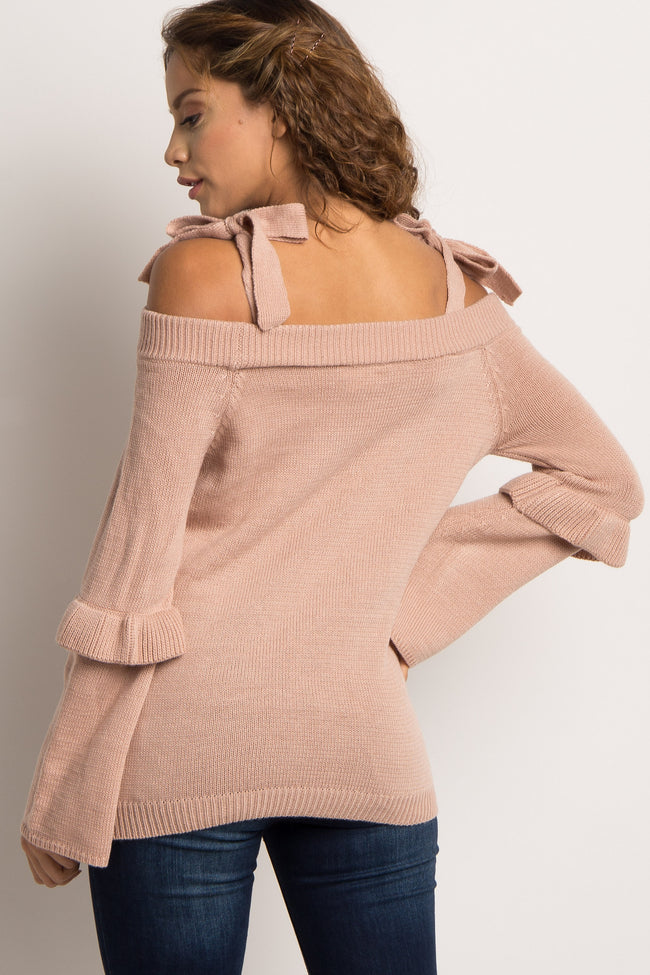 Pink Cold Shoulder Tie Knit Sweater