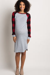 Red Plaid Colorblock Maternity Dress