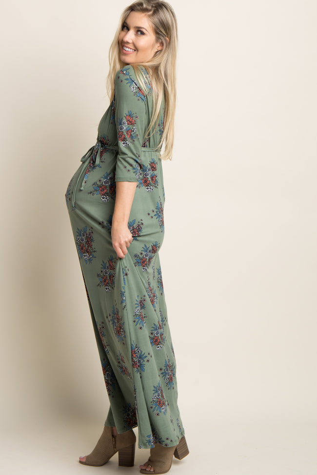 Olive Green Floral Sash Tie Maternity/Nursing Maxi Dress