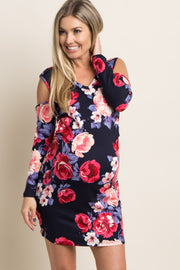Navy Floral Cold Shoulder Fitted Maternity Dress