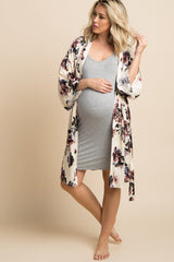 Ivory Floral Delivery/Nursing Maternity Robe