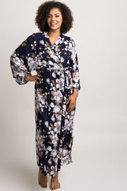 Navy Blue Floral Long Delivery/Nursing Maternity Robe
