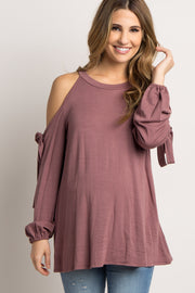 Mauve Cold Shoulder Sleeve Tie Maternity Sweater