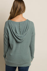 Green Hooded Soft Knit Maternity Sweater