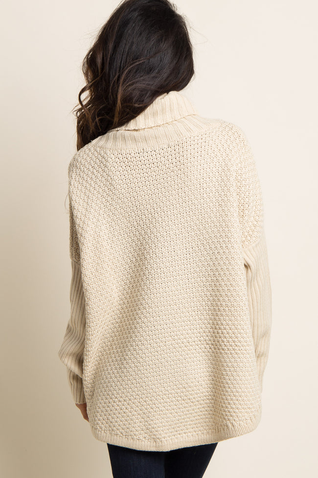 Beige Cowl Neck Knit Maternity Sweater