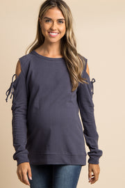 Charcoal Lace-Up Raw Cut Cold Shoulder Maternity Top
