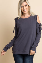 Charcoal Lace-Up Raw Cut Cold Shoulder Top
