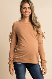 Rust Lace-Up Raw Cut Cold Shoulder Maternity Top