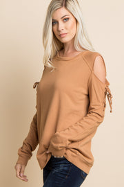Camel Lace-Up Raw Cut Cold Shoulder Top