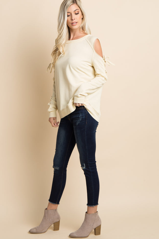 Ivory Lace-Up Raw Cut Cold Shoulder Top