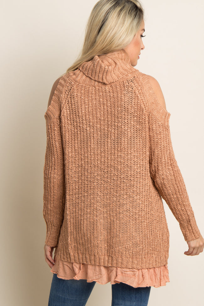 Peach Cold Shoulder Turtle Neck Maternity Sweater
