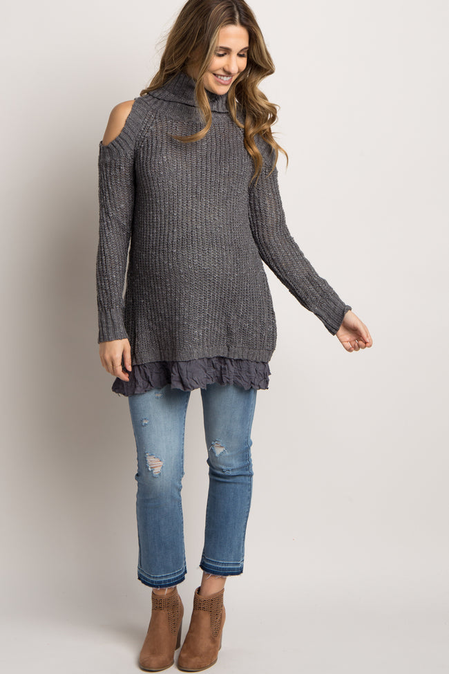 Charcoal Cold Shoulder Turtle Neck Maternity Sweater
