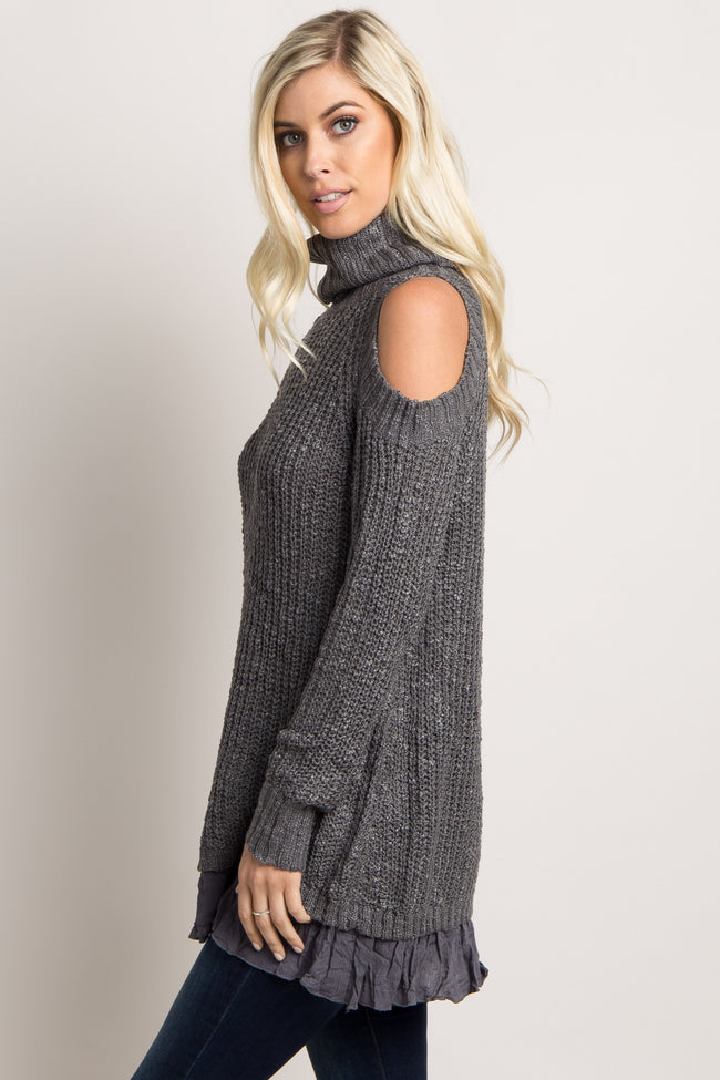 Charcoal Knit Cold Shoulder Turtle Neck Sweater