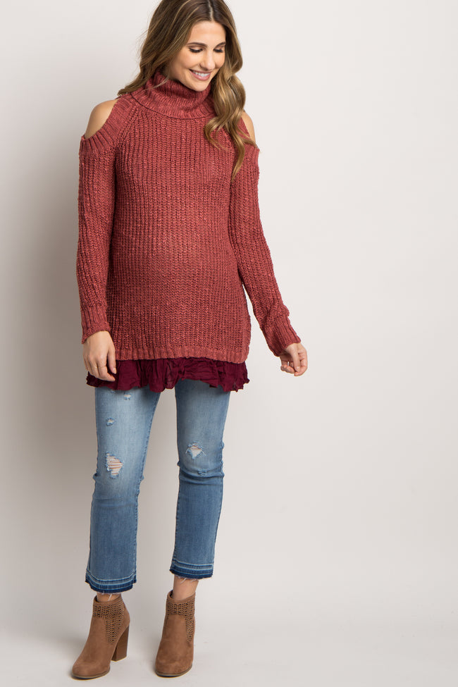 Red Cold Shoulder Turtle Neck Maternity Sweater