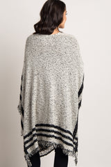 Black Striped Oversized Knit Kimono