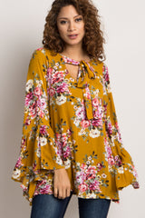 Yellow Floral Tie Neck Maternity Blouse