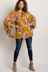 Yellow Floral Tie Neck Blouse