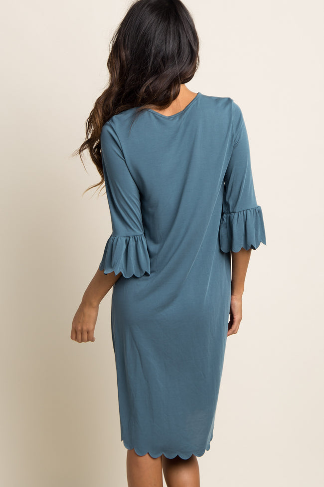 Teal Ruffle Sleeve Scalloped Trim Midi Dress