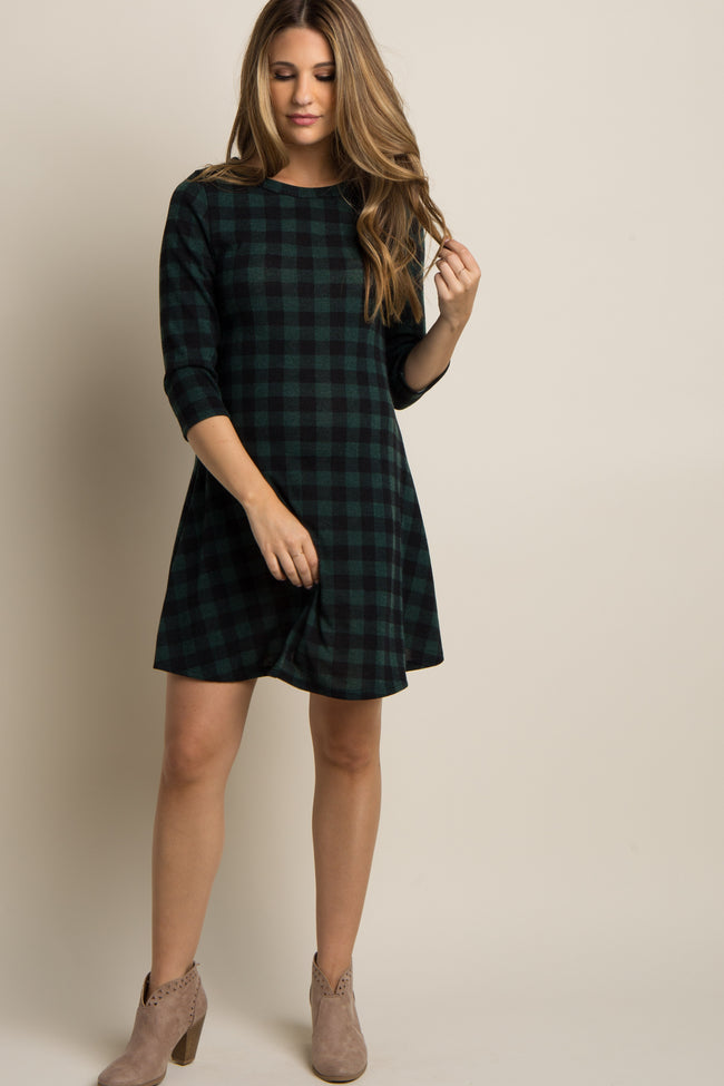 Forest Green Plaid Maternity Sweater Dress